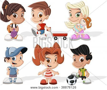 Group of six cute happy cartoon kids