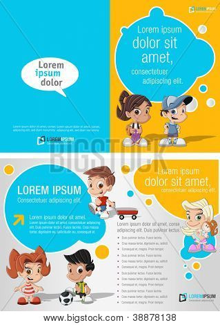 Blue and yellow template for advertising brochure with a group of cute happy cartoon kids playing