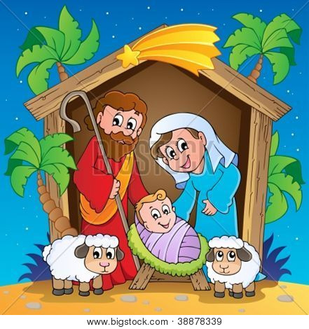 Christmas Nativity scene 3 - vector illustration.