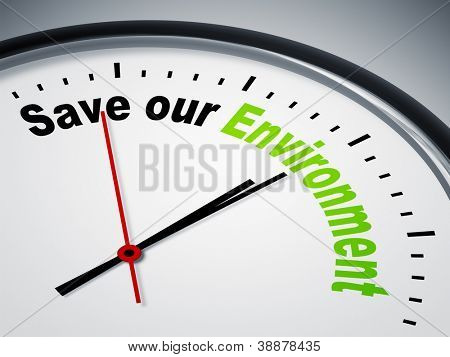 An image of a nice clock with Save our Environment