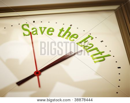 An image of a nice clock with save the earth