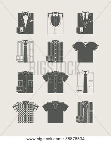 Moda masculina. Conjunto de ícones. Ilustração vetorial
