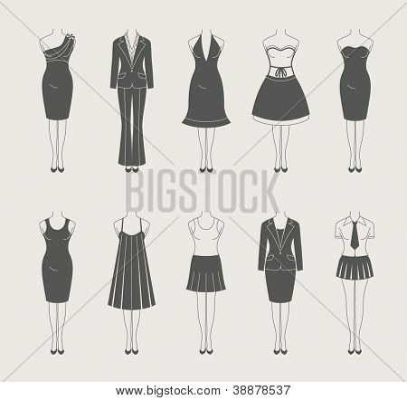 female clothes set icon vector illustration