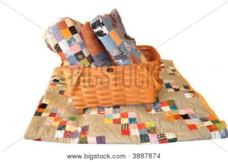 Basket Of Quilts With Path