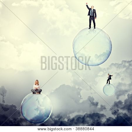 people on 3d soap bubbles on sky