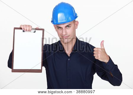 Engineer with a blank clipboard