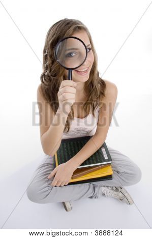 Happy Girl With Books And Lens