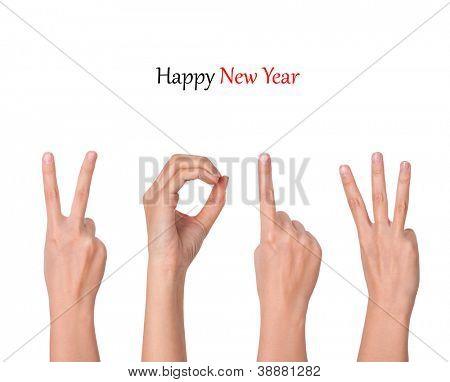 manos formando número 2013
