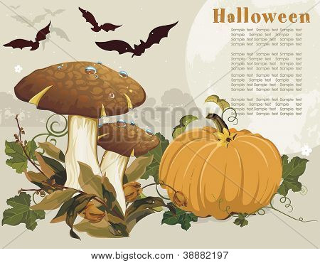 Vector Two ceps with leaves and Pumpkin.
