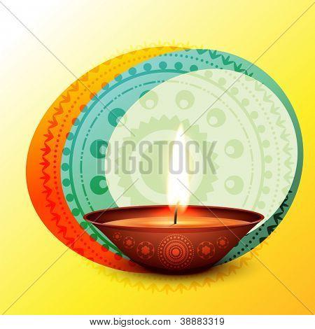 vector diwali elegante diya design ilustração