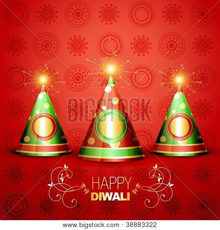 shiny diwali crackers on artistic background