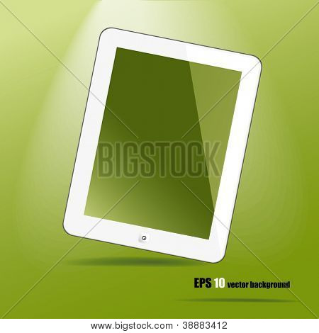 White tablet pc, like ipade on green background, vector eps 10.
