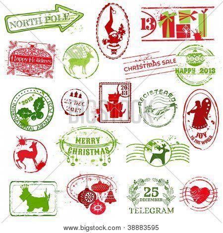 Christmas Stamp Collection - für Design, Scrapbook, Einladung - Vektor