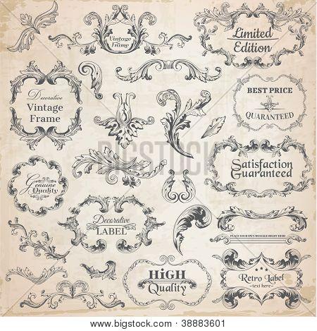 Vektor festgelegt: Kalligraphische Designelementen und Page Dekoration, Vintage-Rahmen-Kollektion mit Blumen