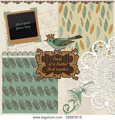 Scrapbook Design Elements - Vintage Bird Feathers - in vector