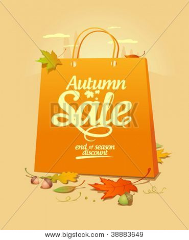 Autumn sale design template with shopping bag.