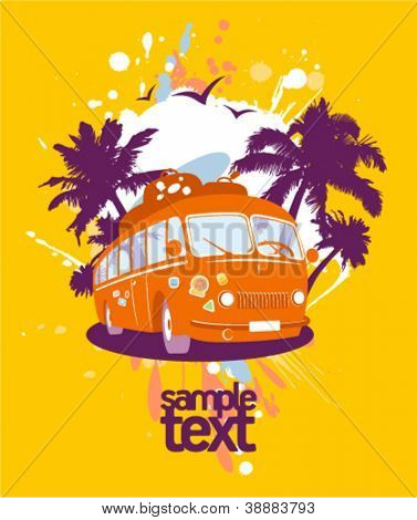 Fashion design template with retro bus and tropical view.