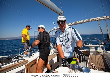 "SARONIC GULF, GREECE - SEPTEMBER 24: Unidentified sailors participates in sailing regatta ""Viva Greece 2012"" on September 24, 2012 on Saronic Gulf, Greece."
