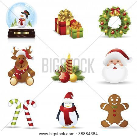 Christmas icons set.Vector illustration