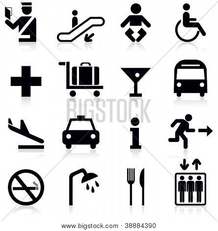 Airport icons set.Vector illustration