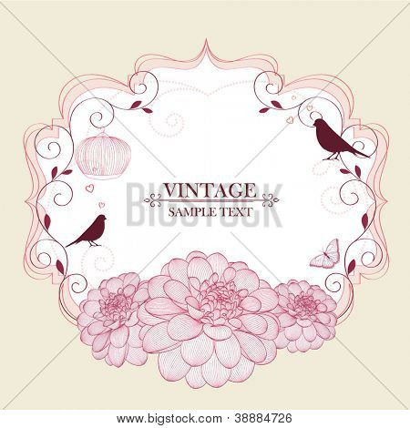 Floral frame with butterfly, birds and flower dahlia. Element for design. Vector illustration.