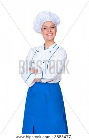 young female cook looking at camera and smiling. isolated on white background