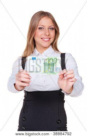 smiley businesswoman holding one hundred euros. studio shot over white background