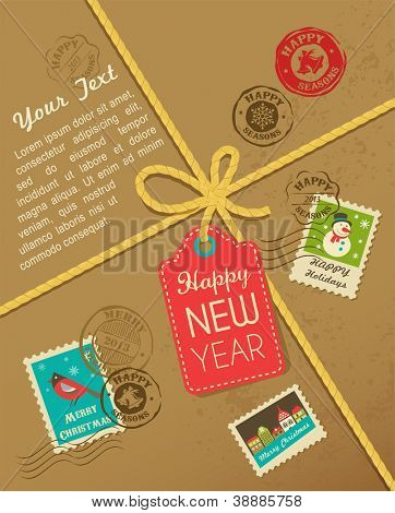Christmas gift with vintage postage stamps