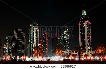 beautiful view in dubai city at night