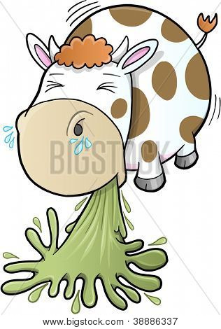 Barfing Vomiting Cow Vector