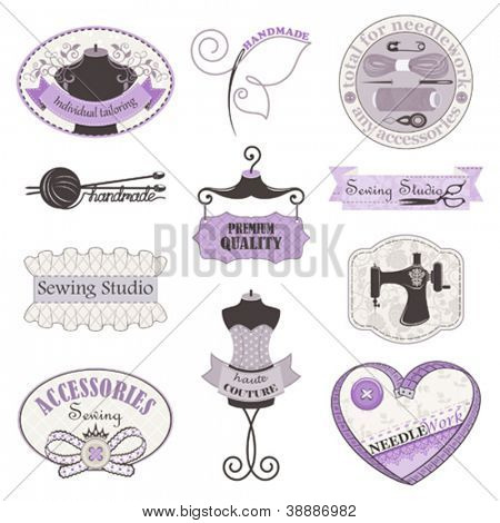 Vector collection of symbols, tools and accessories for needlework and sewing studio