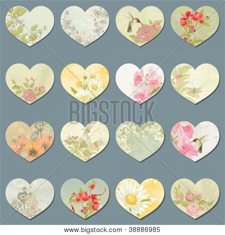 Vektor-Sammlung von Design-retro-Herzen mit Blumen, Schmetterlinge, Libellen und Vögel