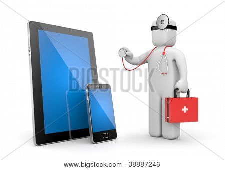 Doctor with stethoscope examine electronics