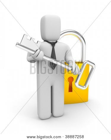 Businessman with key and padlock