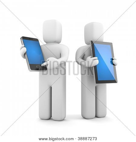 People with mobile and tablet computer