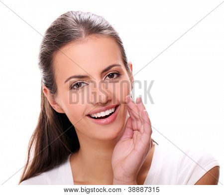 young smiling woman gesturing a verbal call against white background