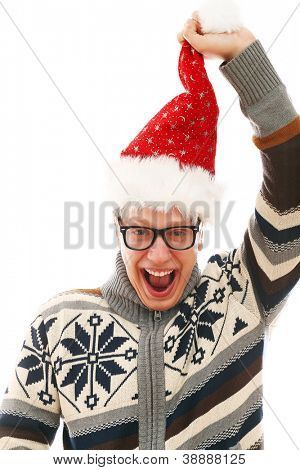 Funny man with glasses in christmas hat isolated on a wite