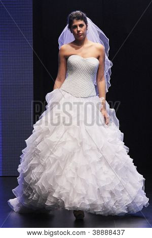 ZAGREB, CROATIA - OCTOBER 27: Fashion model wears wedding dress made by In Atelier Hera on 'Wedding days' show, October 27, 2012 in Zagreb, Croatia.