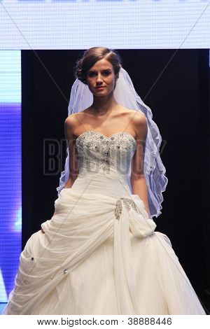 ZAGREB, CROATIA - OCTOBER 27: Fashion model wears wedding dress made by In Atelier Hera on 'Wedding days' show, October 27, 2012 in Zagreb, Croatia.