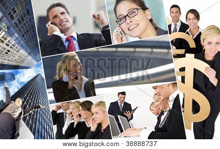 Group of business men & women, businessmen and businesswomen team on mobile or cell phones and holding money signs, business concept.