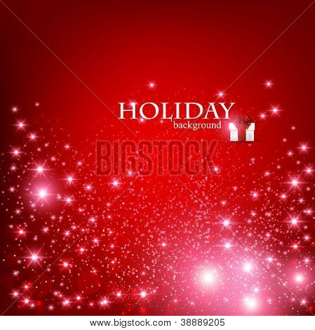 Elegant Christmas Red background with snowflakes and place for text. Vector Illustration.