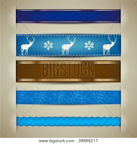 Set of Christmas decorative ribbons, bookmarks, banners. Vector illustration