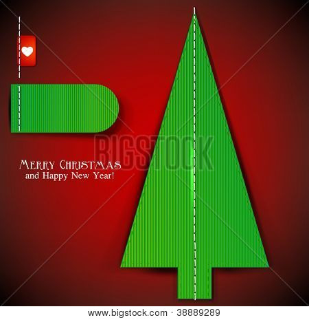 Textured christmas tree with stitch . Vector background with copy space