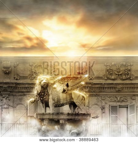 Fantastical glowing golden lion statue with wings in majestic heavenly setting