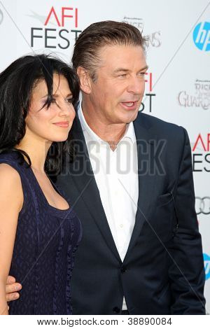 LOS ANGELES - NOV 4:  Hilaria Lynn Thomas, Alec Baldwin arrives at the AFI Film Festival 2012