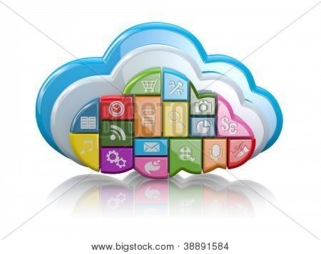 Cloud computing. Clouds as application icons on white background. 3d