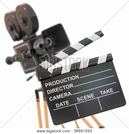 Movie composition. Vintage camera and clapperboard. 3d