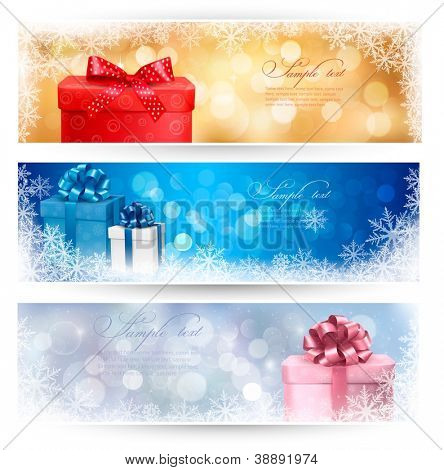 Three christmas banners with gift boxes and snowflake. Vector illustration.