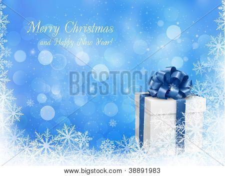 Weihnachten blauer Hintergrund mit Geschenkbox und Schneeflocke. Vektor-Illustration.
