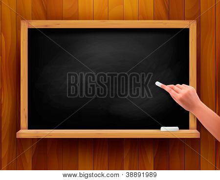 Hand writing on a blackboard. Vector illustration.